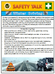SAFETY TALK Winter Driving