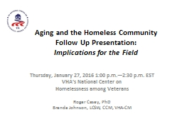 Aging and the Homeless Community