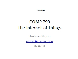 COMP 790 The Internet of Things