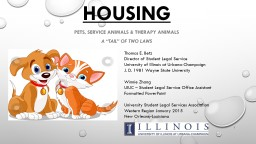 HOUSING Pets, Service Animals & Therapy Animals