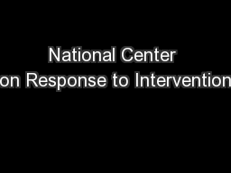 National Center on Response to Intervention