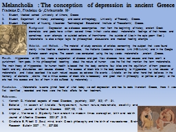 Melancholia : The conception  of depression in  ancient Greece