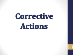 Corrective Actions 1 Corrective Action Objectives