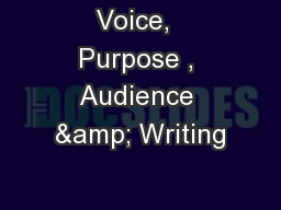 Voice,  Purpose , Audience & Writing PowerPoint PPT Presentation
