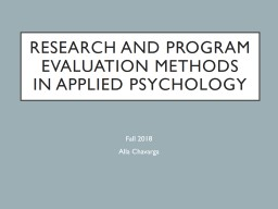 Research and Program Evaluation Methods in Applied Psychology