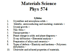 Materials Science  Phys  574 PowerPoint PPT Presentation