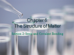 Chapter 6:  The Structure of Matter