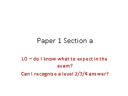 Paper 1 Section a LO – do I know what to expect in the exam?