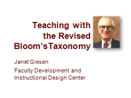 Teaching with  the Revised Bloom'sTaxonomy