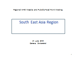 Regional WHO Measles and Rubella Focal Point Meeting