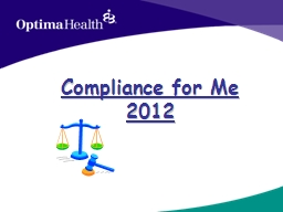 Compliance for Me 2012 Objectives