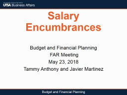 Salary Encumbrances Budget and Financial Planning