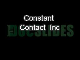 Constant Contact  Inc