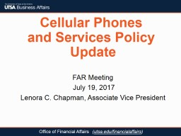 Cellular Phones  and  Services Policy