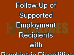 Long-Term Follow-Up of Supported Employment Recipients with Psychiatric Disabilities