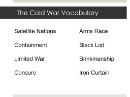 The Cold War Vocabulary