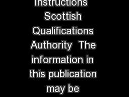 Mathematics Advanced Higher Final ised Marking Instructions  Scottish Qualifications Authority  The information in this publication may be reproduced to support SQA qualifications only on a non comme