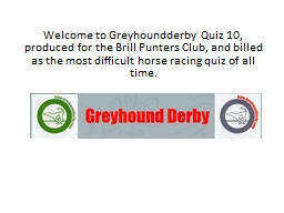 Welcome to  Greyhoundderby