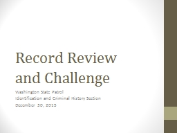 Record Review  and Challenge