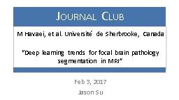 Feb 3, 2017 Jason Su BRATS – Brain Tumor Segmentation