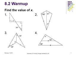 8.2 Warmup Find the value of