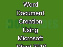 Accessible Word Document Creation Using Microsoft Word 2010