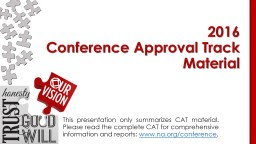 This presentation only summarizes CAT material.