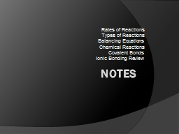 Notes Rates of Reactions