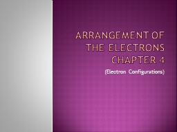 Arrangement of the Electrons PowerPoint PPT Presentation