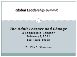 The Adult Learner and Change