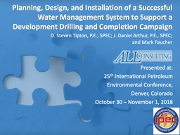 Planning, Design, and Installation of a Successful Water Management System to Support a Development PowerPoint PPT Presentation