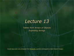 Lecture 13 Tables from Arrays of Objects