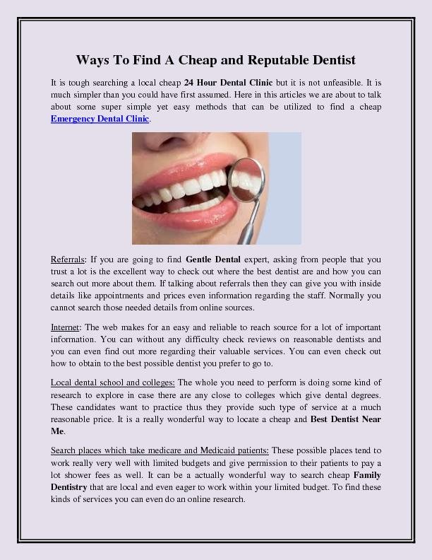 Ways To Find A Cheap and Reputable Dentist