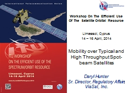 Workshop On The Efficient Use Of The Satellite Orbital Resource