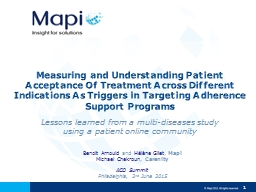 Lessons learned from a multi-diseases study using a patient online community PowerPoint PPT Presentation