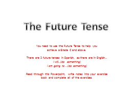The Future Tense You need to use the Future Tense to help you PowerPoint PPT Presentation
