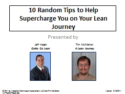 10 Random Tips to Help Supercharge You on Your Lean Journey