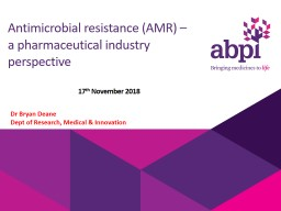 Antimicrobial resistance (AMR) –