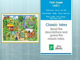 First Grade Unit 2 Environment: Literary and Ludic