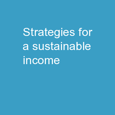 Strategies for a sustainable income