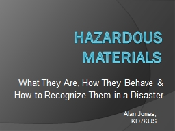 Hazardous Materials What They Are, How They Behave &