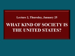 Lecture 2, Thursday, January