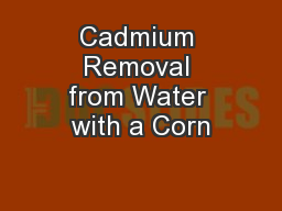 Cadmium Removal from Water with a Corn PowerPoint PPT Presentation