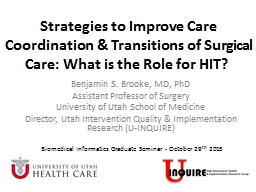 Strategies to Improve  Care Coordination & Transitions