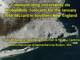 Communicating Uncertainty via Probabilistic Forecasts for the January 2016 Blizzard in Southern New