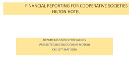 FINANCIAL REPORTING FOR COOPERATIVE SOCIETIESHILTON HOTEL