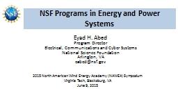 NSF Programs in  Energy