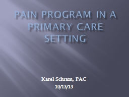 PAIN PROGRAM IN A PRIMARY CARE SETTING