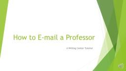How to E-mail a Professor