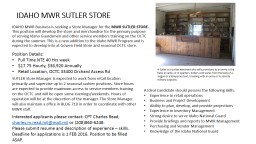 IDAHO MWR SUTLER STORE IDAHO MWR Business is seeking a Store Manager for the